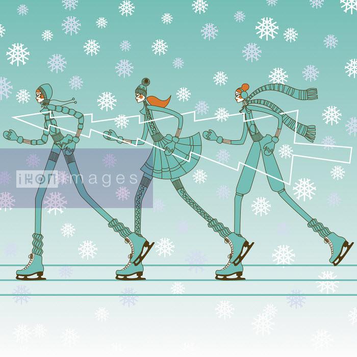 Fashionable young women ice skating in a row carrying christmas tree - Fashionable young women ice skating in a row carrying christmas tree - Yordanka Poleganova