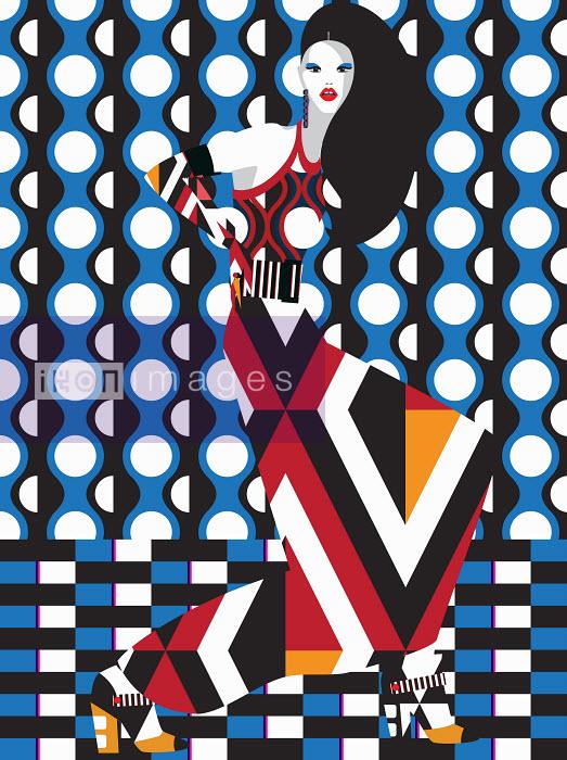 Funky fashion model in geometric pattern - Funky fashion model in geometric pattern - Yordanka Poleganova