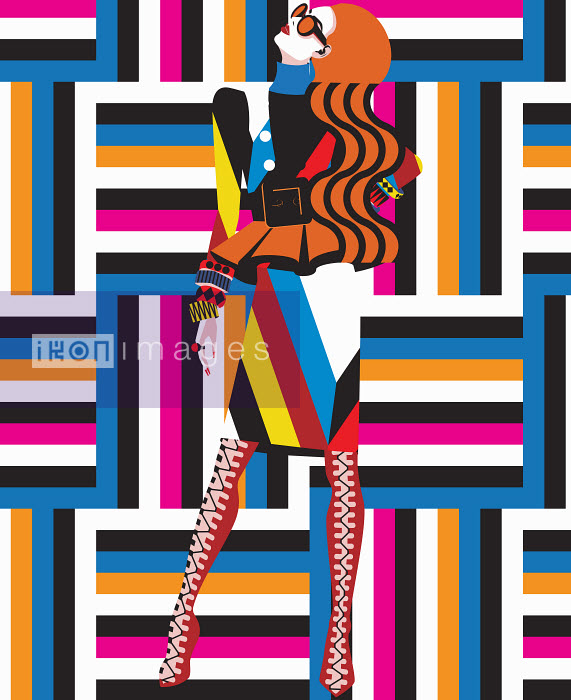 Funky fashion model in geometric pattern - Funky fashion model in geometric pattern - Yordanka Poleganova