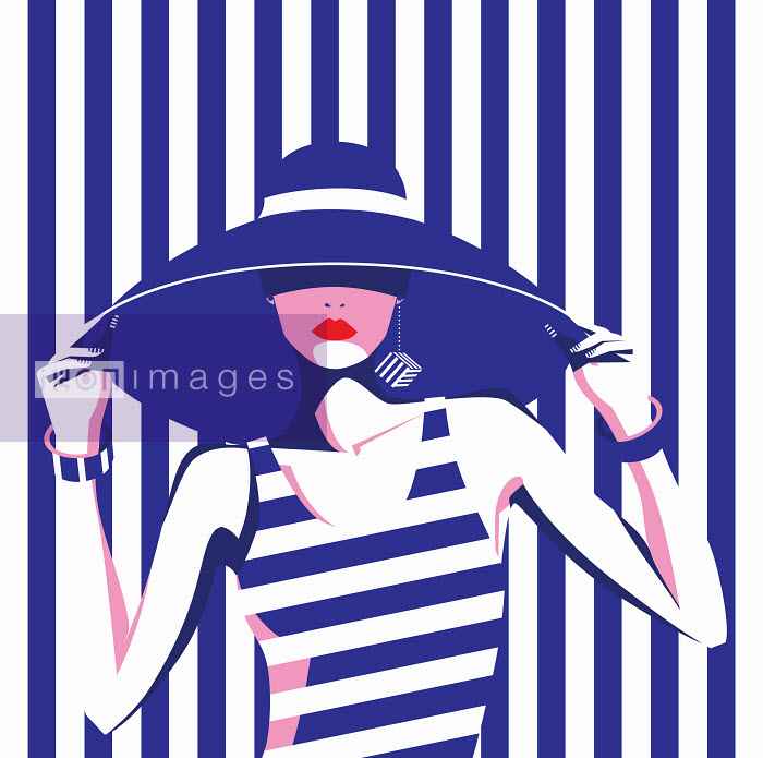Fashion model in wide brimmed hat and blue and white striped pattern - Fashion model in wide brimmed hat and blue and white striped pattern - Yordanka Poleganova