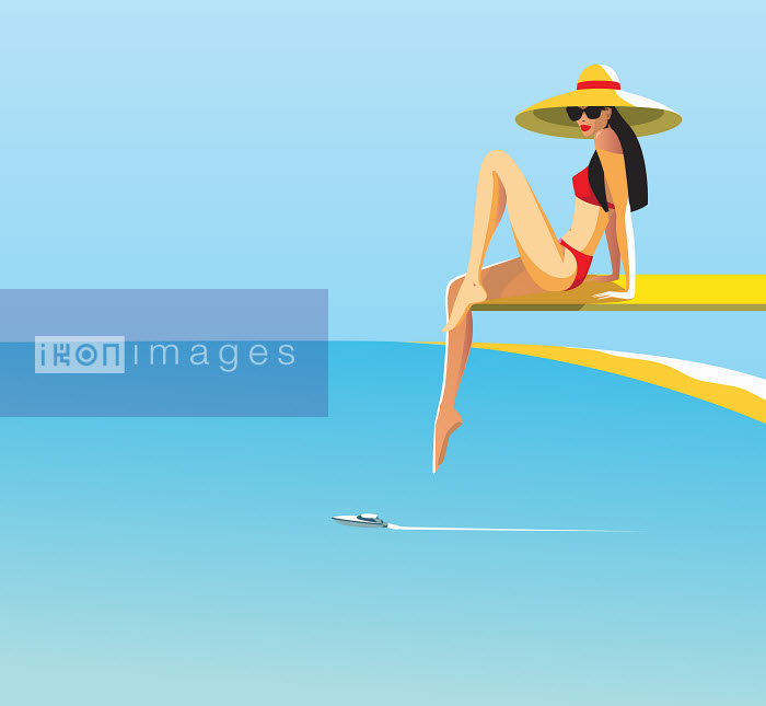 Beautiful woman posing on diving board above ocean - Beautiful woman posing on diving board above ocean - Yordanka Poleganova