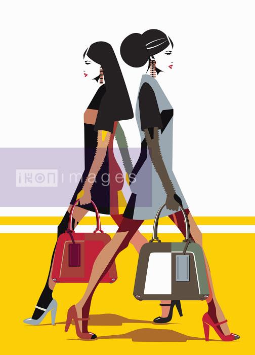 Women wearing similar outfits walking in opposite directions - Women wearing similar outfits walking in opposite directions - Yordanka Poleganova