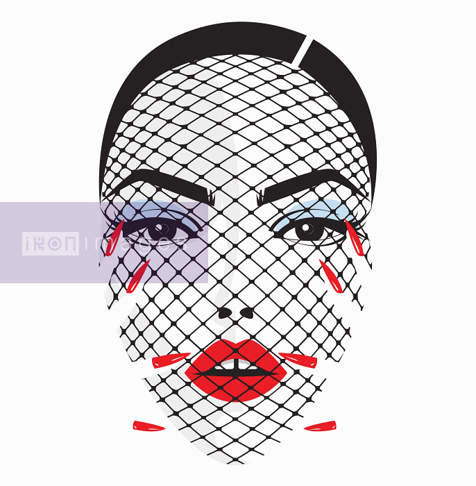Yordanka Poleganova - Beautiful woman's face behind net veil