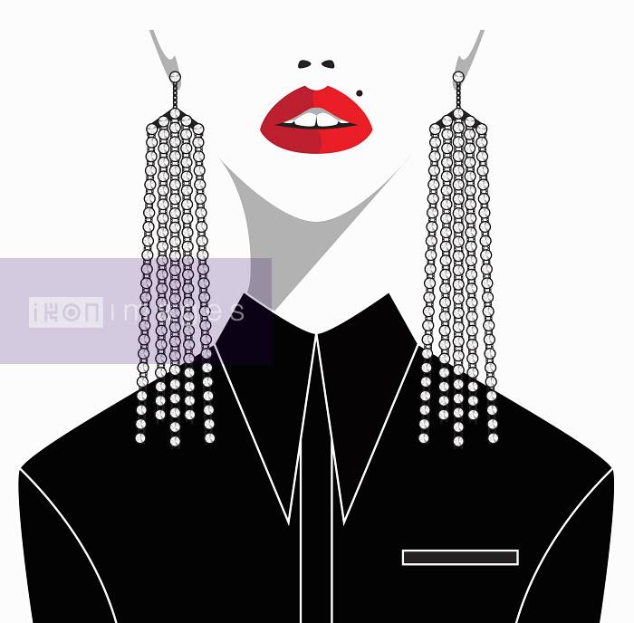 Lower half of woman's face wearing dangling diamond earrings - Lower half of woman's face wearing dangling diamond earrings - Yordanka Poleganova
