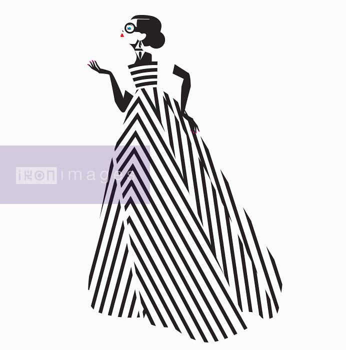 Fashion model posing in black and white striped evening gown - Fashion model posing in black and white striped evening gown - Yordanka Poleganova