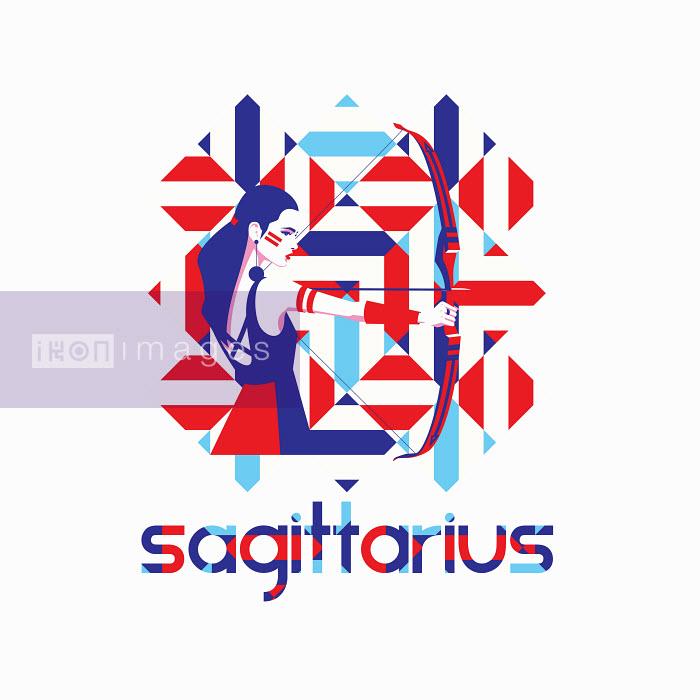 Fashion model in geometric pattern as sagittarius zodiac sign - Yordanka Poleganova
