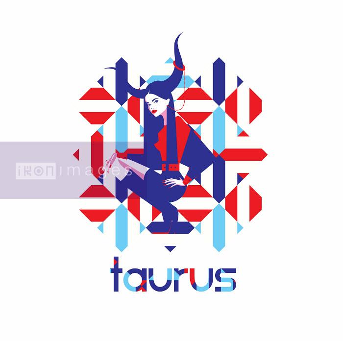 Fashion model in geometric pattern as taurus zodiac sign - Yordanka Poleganova