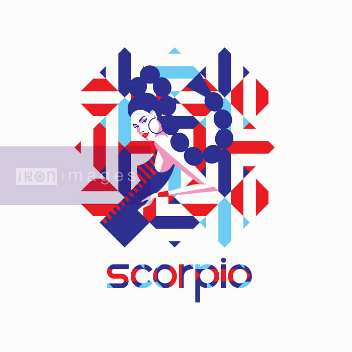 Fashion model in geometric pattern as scorpio zodiac sign - Yordanka Poleganova