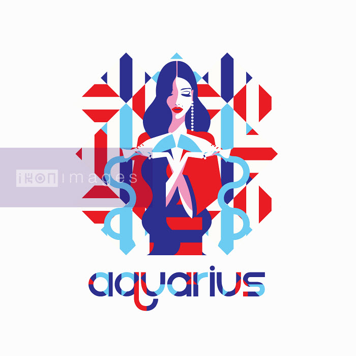 Fashion model in geometric pattern as aquarius zodiac sign - Yordanka Poleganova