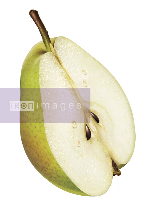 Fresh green pear half on white background - Fresh green pear half on white background - Cube
