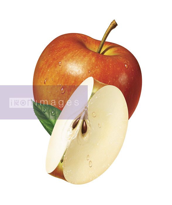 Close up of fresh sliced red apple - Close up of fresh sliced red apple - Cube