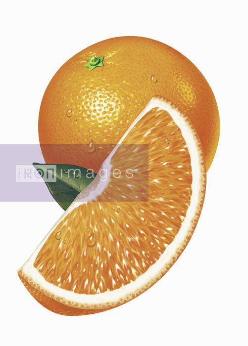 Close up of fresh sliced orange - Close up of fresh sliced orange - Cube