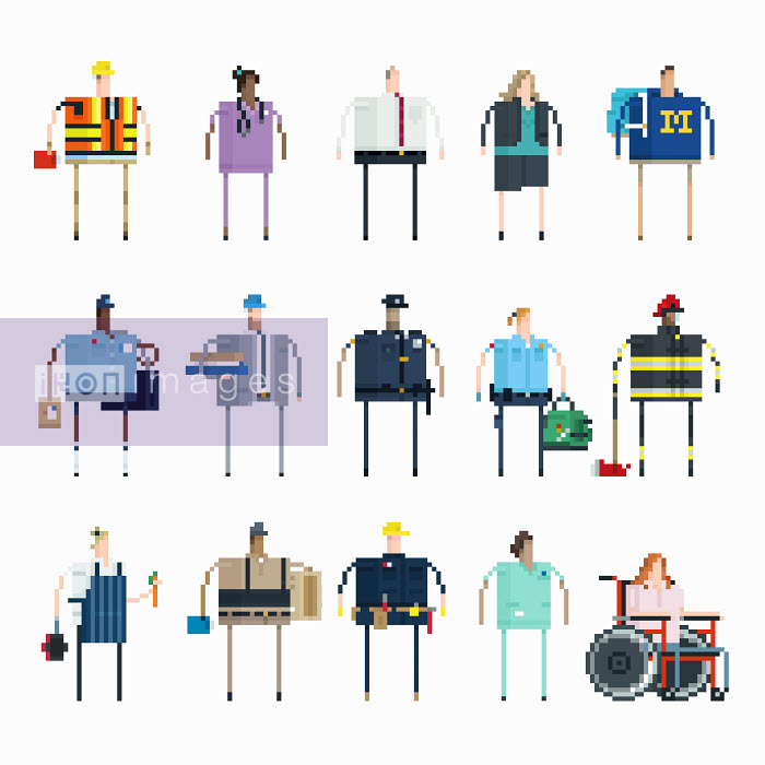 Pixelated people in a row with different jobs in united states - Pixelated people in a row with different jobs in united states - Chris Ede