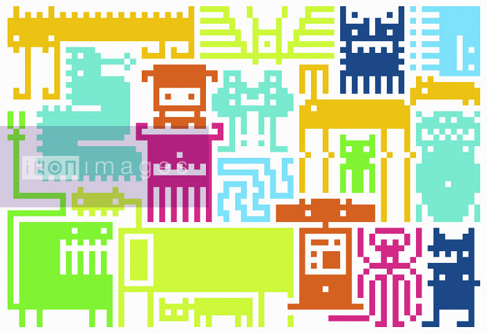 Pattern of retro pixelated video game icons - Pattern of retro pixelated video game icons - Chris Gilleard