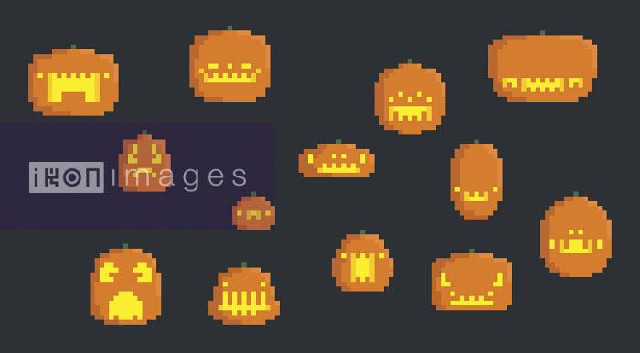 Various pixelated Halloween pumpkins - Various pixelated Halloween pumpkins - Chris Gilleard