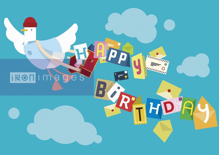 Flying bird postal worker delivering birthday cards - Flying bird postal worker delivering birthday cards - Chris Gilleard