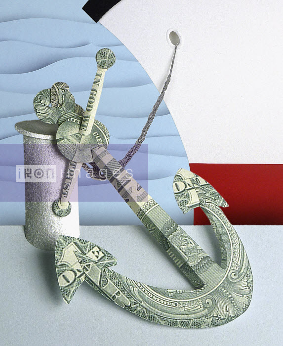 An anchor made from dollar bill on the dock with QEII ship and waves. Paper art by Gail Armstrong - Ship's anchor made from dollar bills by Gail Armstrong - Gail Armstrong
