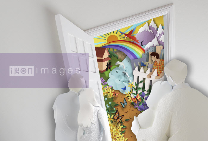 Paper sculpture image of family looking through open front door to paradise beyond. - Paper sculpture image of family looking through open front door to paradise beyond. - Gail Armstrong