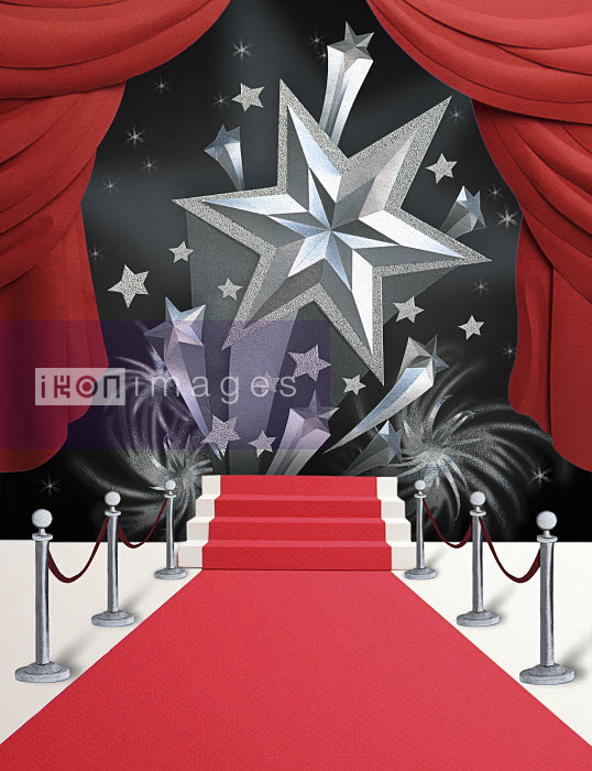 Papercut image of silver shooting stars rising above the red carpet with red theatre curtains. Paper art illustration by Gail Armstrong - Papercut image of silver shooting stars rising above the red carpet with red theatre curtains. Paper art illustration by Gail Armstrong - Gail Armstrong