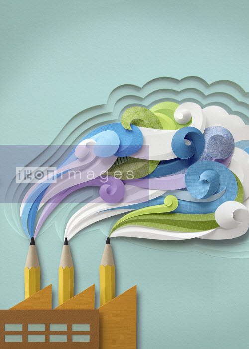 Paper craft image of factory with coloured smaoke and pencils instead of chimneys - Colorful swirling smoke from pencils as factory chimneys - Gail Armstrong