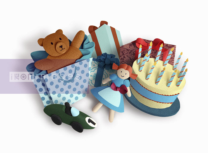 Birthday cake and children's presents - Birthday cake and children's presents - Gail Armstrong