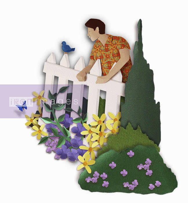 Paper sculpture image of neighbour looking over white picket fence into colourful garden. - Paper sculpture image of neighbour looking over white picket fence into colourful garden. - Gail Armstrong