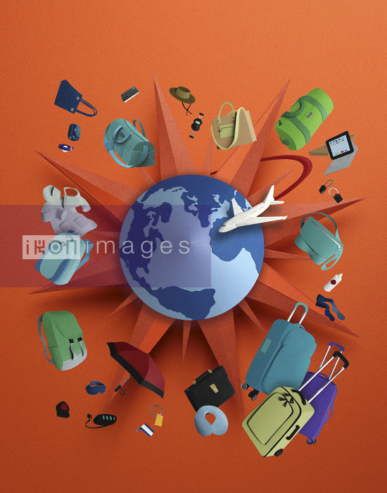 TGS logo with travel items orbitting the globe all made in 3D paper - TGS logo with travel items orbitting the globe all made in 3D paper - Gail Armstrong