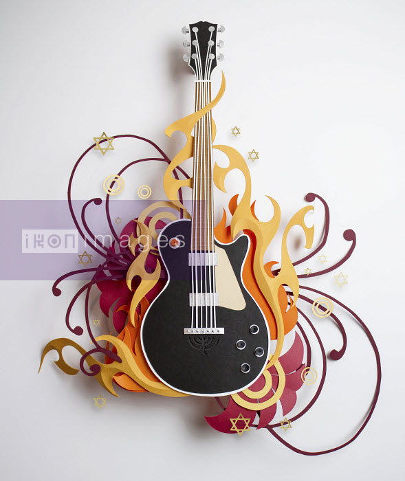 Stars and swirls surrounding paper craft guitar - Stars and swirls surrounding paper craft guitar - Gail Armstrong