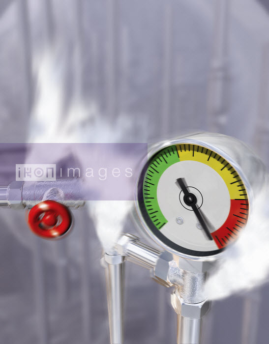 Steam pressure escaping from pipes with pressure gauge warning - Steam pressure escaping from pipes with pressure gauge warning - Ian Naylor