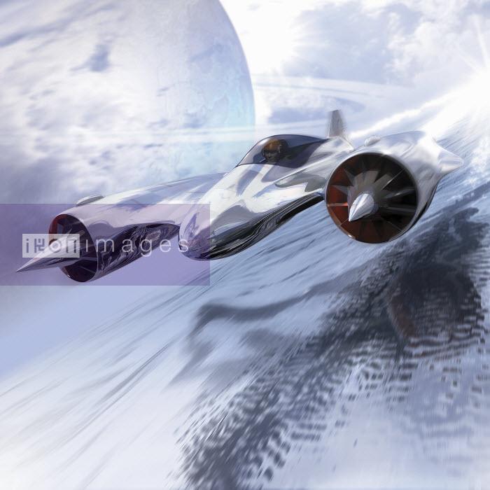 Futuristic jet airplane flying - Futuristic jet airplane flying - Ian Naylor