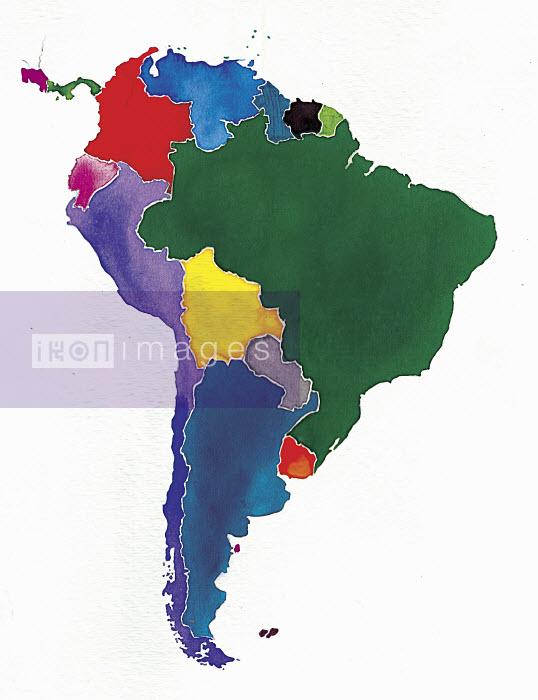 Watercolor map of South America - Watercolor map of South America - Jennifer Maravillas