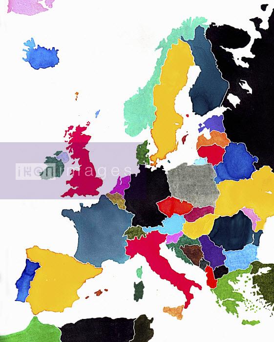 Watercolor map of Europe - Watercolor map of Europe - Jennifer Maravillas