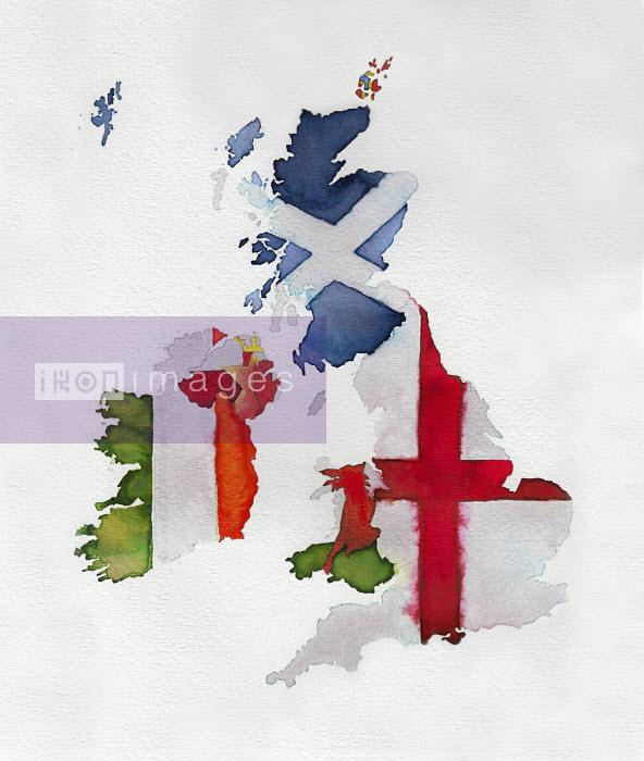 Watercolor flag map of United Kingdom and Ireland - Watercolor flag map of United Kingdom and Ireland - Jennifer Maravillas