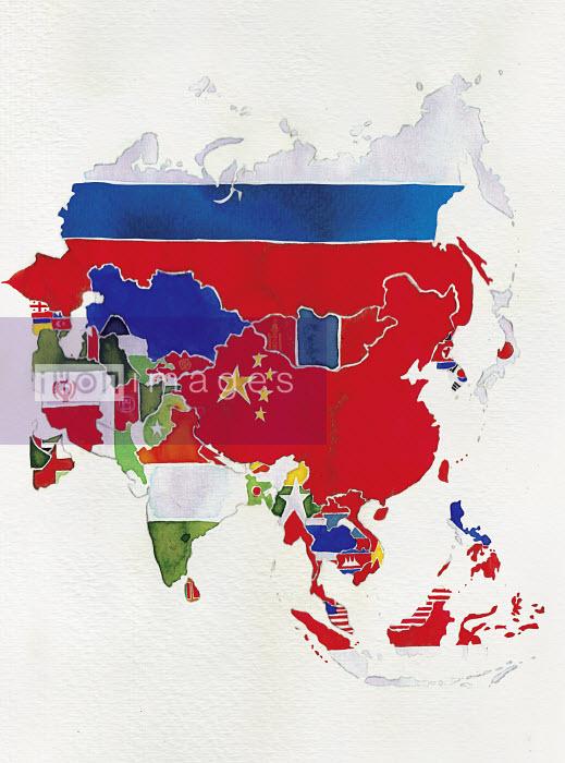 Watercolor flag map of Asia - Watercolor flag map of Asia - Jennifer Maravillas