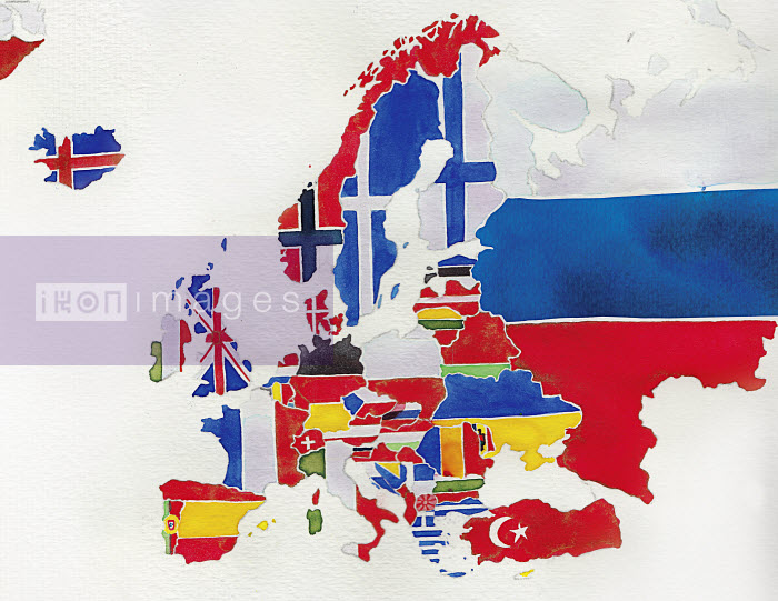 Watercolor flag map of Europe - Watercolor flag map of Europe - Jennifer Maravillas