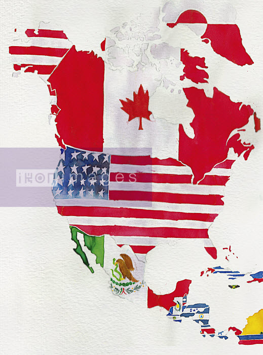 Watercolor flag map of North and Central America - Watercolor flag map of North and Central America - Jennifer Maravillas