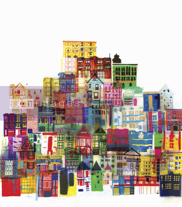 Montage of bright multicolored buildings - Montage of bright multicolored buildings - Jennifer Maravillas