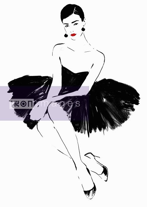 Beautiful elegant woman wearing strapless black dress - Beautiful elegant woman wearing strapless black dress - Judith van den Hoek