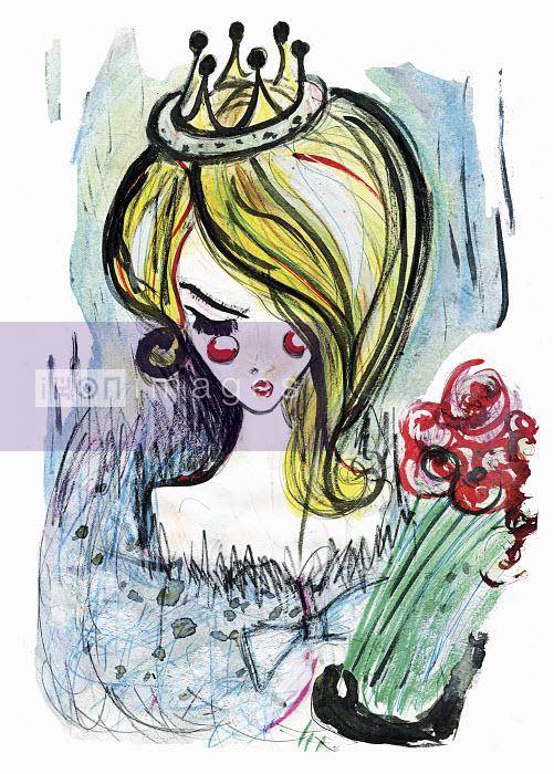 Beautiful woman wearing tiara holding bouquet - Beautiful woman wearing tiara holding bouquet - Lucia Emanuela Curzi