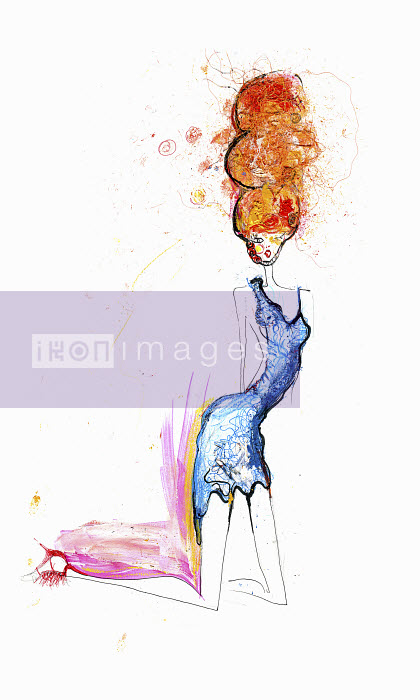 Woman with red hair kneeling in blue dress - Woman with red hair kneeling in blue dress - Lucia Emanuela Curzi