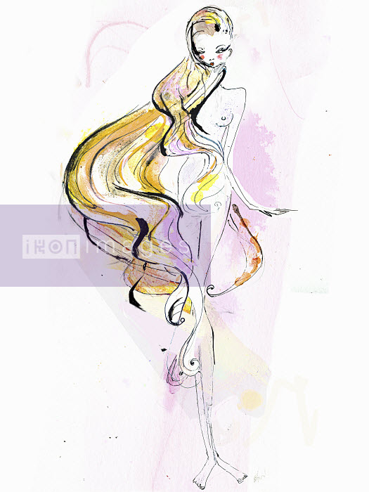 Naked woman with long blonde hair - Naked woman with long blonde hair - Lucia Emanuela Curzi