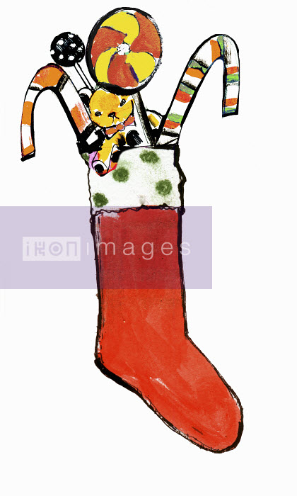 Christmas stocking filled with teddy bear and candy canes - Christmas stocking filled with teddy bear and candy canes - Lucia Emanuela Curzi