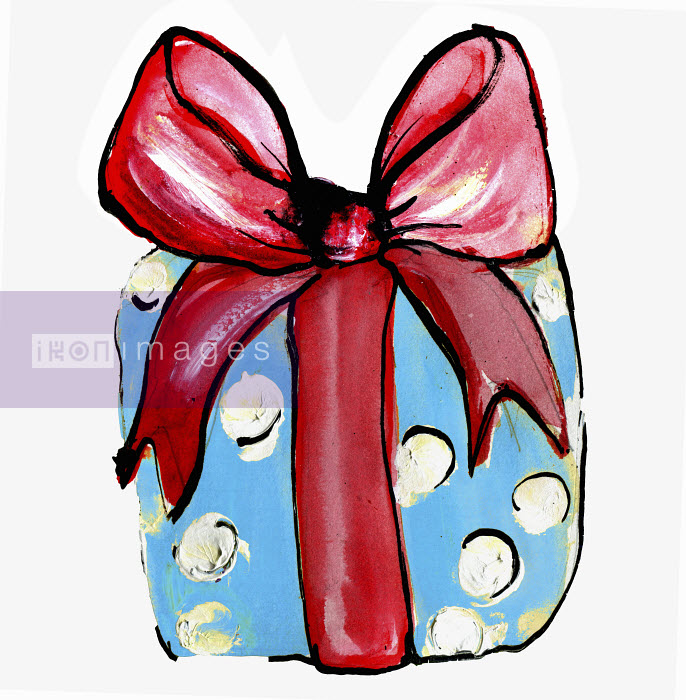 Christmas present wrapped with big red bow - Christmas present wrapped with big red bow - Lucia Emanuela Curzi