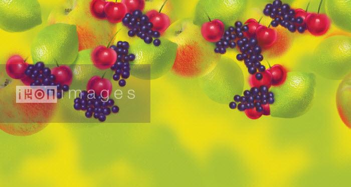 Colorful fruit pattern of apples, cherries, grapes and limes - Colorful fruit pattern of apples, cherries, grapes and limes - Barry Patterson