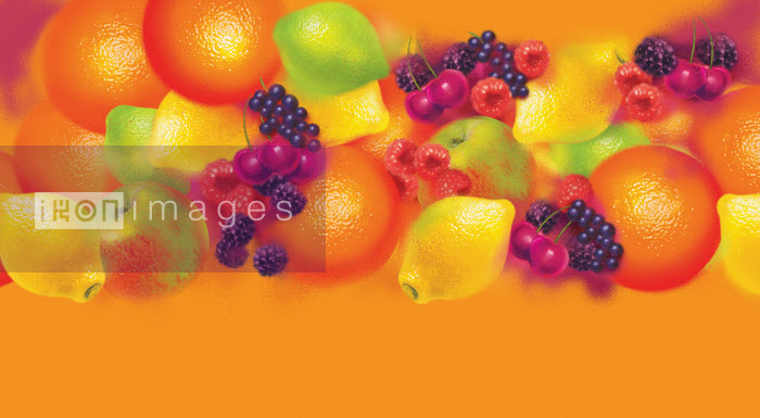Colorful pattern of lots of different fresh fruit - Colorful pattern of lots of different fresh fruit - Barry Patterson