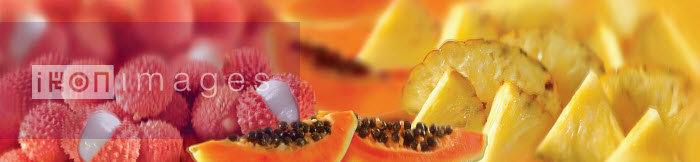 Close up of fresh litchis, papaya and slices of pineapple - Close up of fresh litchis, papaya and slices of pineapple - Barry Patterson