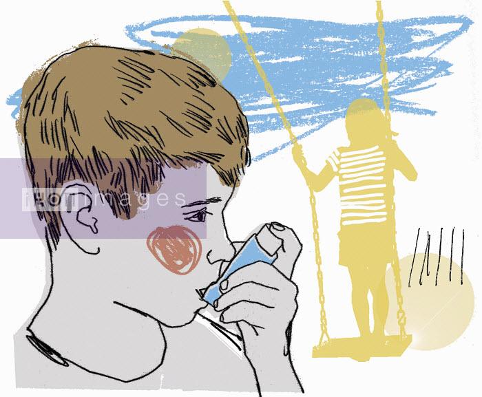 Boy using asthma inhaler in playground - Boy using asthma inhaler in playground - Kavel Rafferty