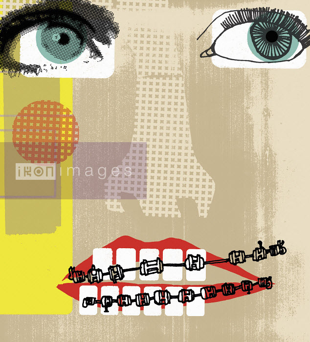 Collage face with teeth brace - Collage face with teeth brace - Kavel Rafferty