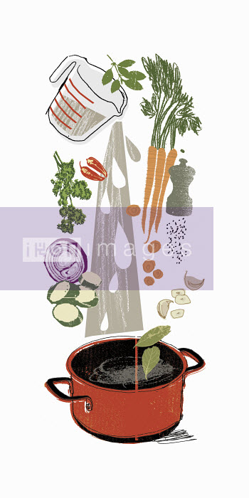 Cooking ingredients pouring into stock pot - Cooking ingredients pouring into stock pot - Kavel Rafferty