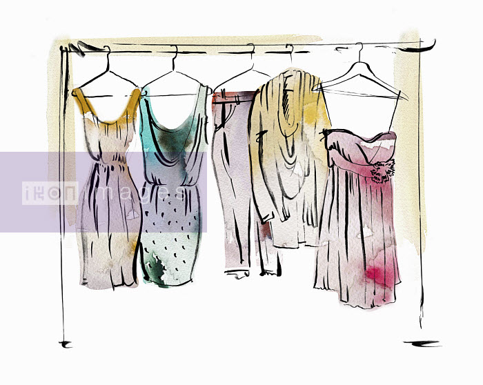 Women's clothing hanging on coathangers on clothes rail - Women's clothing hanging on coathangers on clothes rail - May Van Milligan
